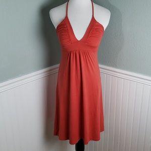 Susana Monaco Gathered String Halter Dress -Orange
